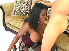 Cute ebony sucks and gets cumflowed