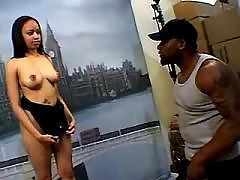 Cheeky ebony girl takes mighty dick
